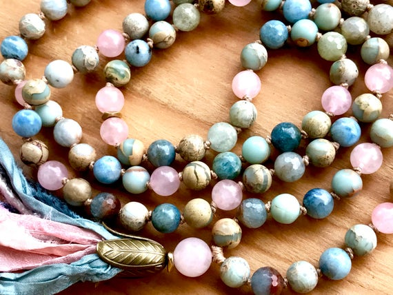 Aquamarine Mala Beads, African Opal, Rose Quartz, Miinstone, Goddess Jewelry, Long  Tassel Necklace , Sil Sari, Yoga Jewelry, Chakra Mala