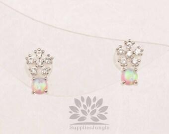 Plaqué de Rhodium E315-R-PK / / cube fleur avec boucle d'oreille de poteau d'argent 3mm opale rose, 1paire