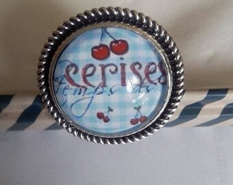 """ring """"time of cherries"""", 18mm"""