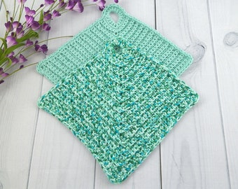 Washcloth Set, Handmade Crochet Washcloth, Dishcloth, Cotton Mitered Washcloth Set of 2