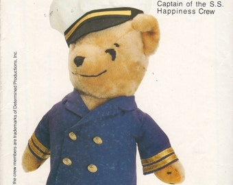 Butterick 4781 263 1980s  Cap'N Joshua Captain of the S S Happiness Crew Stuffed Bear Pattern Vintage Toy Sewing Pattern UNCUT