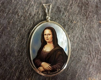 Mona Lisa Hand Painted Sterling Silver Pendant