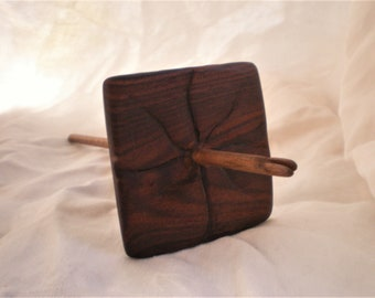 Split Notch Drop Spindle, Bolivian Rosewood and Walnut, High whorl, 32g