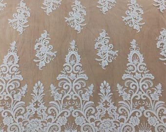Beaded Lace Fabric By The Yard, French Lace, Alencon Lace, Bridal Lace, Wedding Lace, Garter Lace, Pearl Lace For Wedding Dress