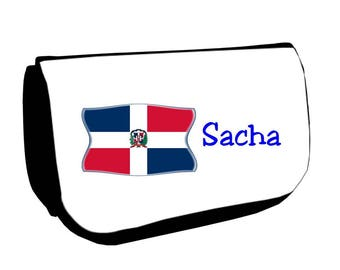 Cosmetic case Black /crayons Dominican Republic customized with name
