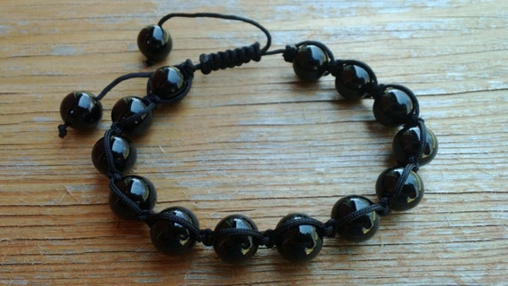 Black Beaded Bracelet,  Macrame Adjustable Bracelet, Black Jewelry, Black Macrame Bracelet, One size fits most, Sale Price