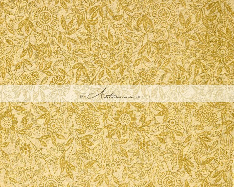 Instant Art Printable Download - Antique Flower Paper Design Gold ...