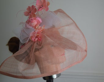Large Salmon/Dusky Pink  fascinator with  flowers Royal Ascot | Derby | Wedding