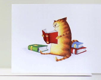 Literary Purrrsuits Kitty Greeting Card