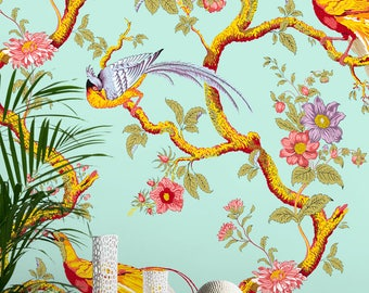 Seamless Chinoiserie Repeated Pattern Wallpaper - Removable Vintage Wall Decals - Chinese Wallpaper Wall Stickers - Chinoiserie Wallpapers
