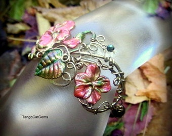 Flower Wire Wrap Bracelet  Hand Painted Statement Bracelet  with Pink flowers and Green Pearls