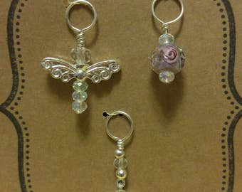 Handcrafted Knitting stitch markers, angel, rose and amethyst.