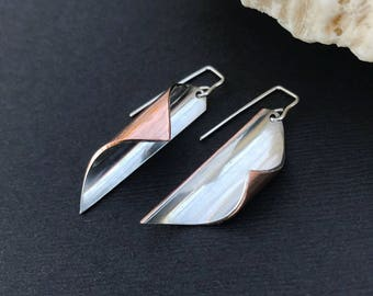 Mixed Metal Dangle Earrings, Copper and Sterling Silver Drop Earrings, Metalsmith Silver Linings Series, Sleek Contemporary Curved Design