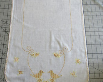 Free Shipping in USA White Cotton Table Runner Dresser Scarf Hand Embroidery  and Cross Stitch Shades of Yellow, Scalloped Ends  3103