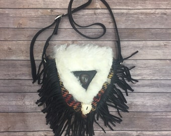 Cross body bag with black fringe and Pendelton Wool