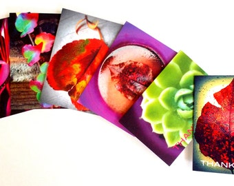 Vibrant Thank You Note Cards. Small Greeting Cards. Nature Inspired Thank You Cards.