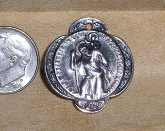 Vintage Signed Creed Sterling Silver Charm Or Pendant I Am A Catholic 1940's Jewelry 44
