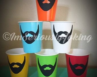24 Beard Paper Party Cups-beard cups-Mustache Cups-Little Man Party-Mustache Party-The Handlebar- Variety of colors cups-Mustache theme-Baby
