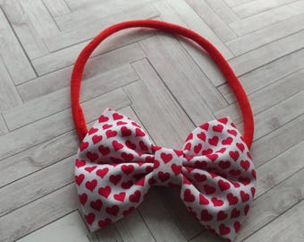 Valentine's Day headband. Valentine's Day heart nylon headband. Babies nylon headband. Holiday headband. Babies Valentine's Day headband.