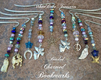 """BOOKMARKS BEADED ~ Swarovski Crystals ~ Choice Dangle Charms ~ Angel, Star, Horse Shoe, Bird, Peace Sign ~ Shepards Hook 3.5"""" Gift Box"""