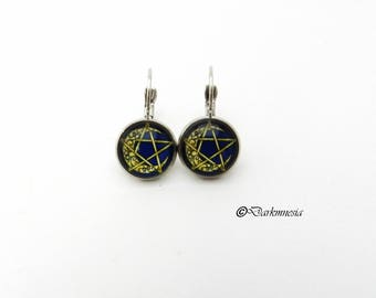 earrings, sleepers, cabochon, moon, pentacle, pentagram, goth, gothic, wicca, pagan, witch