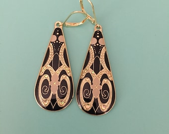 Art Deco Earrings / Statement Earrings / Vintage Earrings / Gold Earrings / Black Earrings / Bridesmaid Gift / Boho Earrings / Drop Earrings