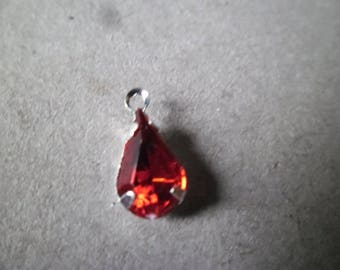 1 x 13 x 6 mm red rhinestone drop