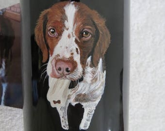 Hand Painted Pet Portrait Coffee Mugs Made to Order Brittany Dog by Shannon Ivins Pigatopia