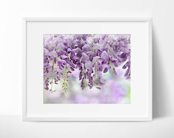Instant Digital Download Fine Art Nature Photography - Whimsical Wisteria with Bokeh Background - Bedroom Wall Art - Digital Print