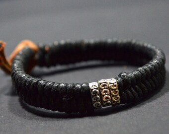 Black cord men bracelet