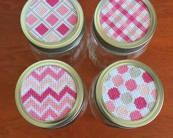 Pretty In Pink Mason Jar Tops