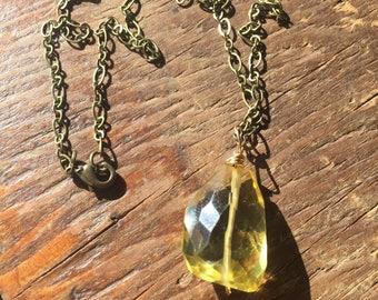 Lemon Quartz Antiqued Bronze Necklace