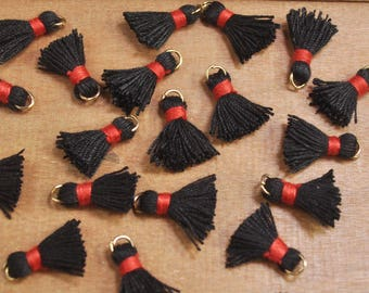 20pcs 15mm Mini Tassels,Black,Short Boho tassels,earring,Small tassels Fringe Trim,DIY Craft Supplies,Jewelry tassels - FH05