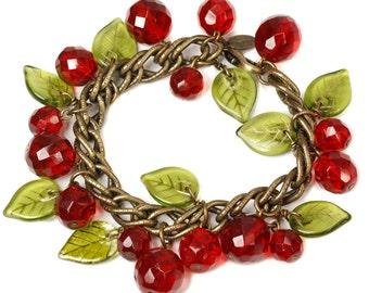 Crystal Cherries Charm Bracelet, Retro Cherry Charm Bracelet, Red Cherry Bracelet, Rockabilly Cherry Bracelet, Fruit Bracelet BR198