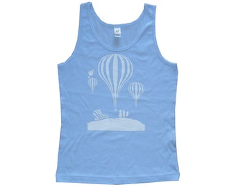 Balloons - Sky Blue - Womens Singlet Top **SALE ITEM**