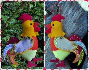Ready To Ship - Red Rooster, Symbol of 2017 year by Chinese Zodiac, Handmade Felt Red Rooster, Hanging Home Decoration