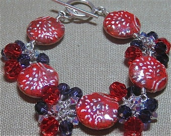 Unofficial Red Hat Society Cluster Station Bracelet - B154
