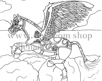 Hand Drawn Mythical Horse, coloring, coloring page,  fantasy horse, horse mythical, Armored Horse, wings, moon, clouds, trees, coloring book
