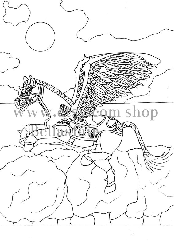 Hand Drawn Mythical Horse coloring coloring page fantasy
