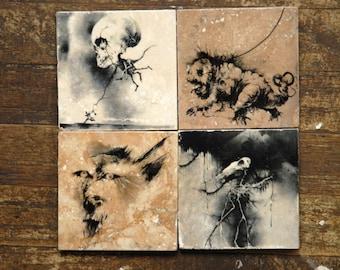 Scary Stories Tile Coasters - Set of 4 // childhood // illustration // dark decor // creepy // weird