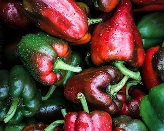 Food Photography, Still Life, Peppers, Wall Art, Home Decor, Kitchen Decor, Farmers Market, Fresh Produce, Art