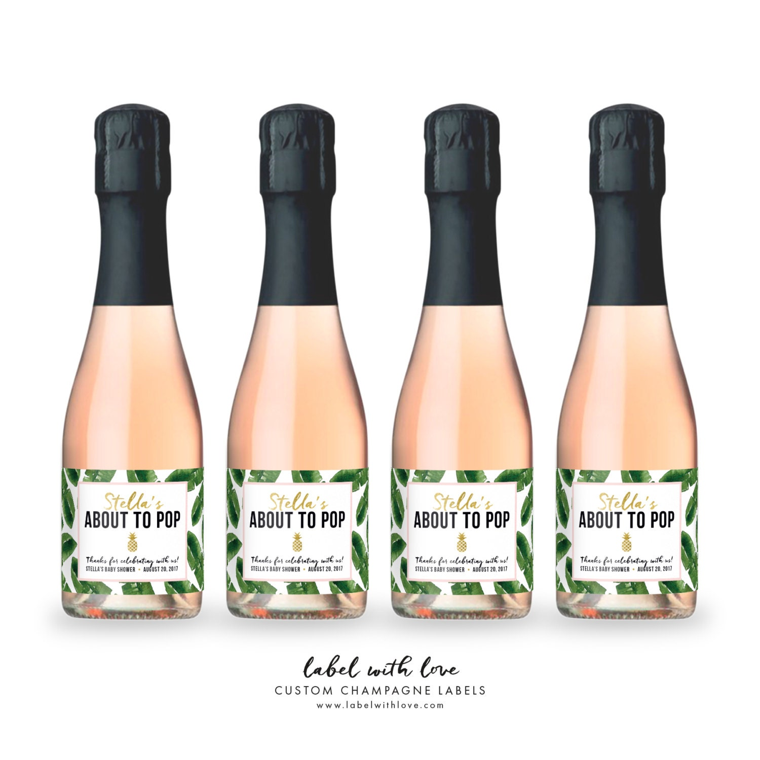 Baby Shower Mini Champagne Bottle Labels Palm Tropical Aloha