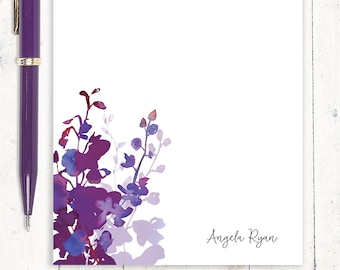 personalized notePAD - PURPLE WATERCOLOR ORCHID - personalized stationary - stationery - purple flowers