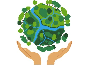 Buy 2 Get 1 Free-Earth cross stitch pattern-World Globe-hands holding the earth-Saving Planet Earth-PDF pattern-Home decor-P-123