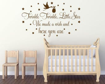 "Nursery Wall Quote ""Twinkle Twinkle Little Star..."" Vinyl Transfer Sticker Decal"