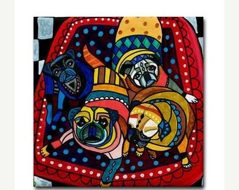 50% SALE- Pug art Tile Ceramic Coaster  Folk Art Print of painting by Heather Galler dog (HG789)