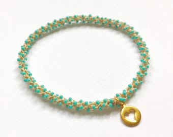 Stackable golden heart yoga charm bracelet Vissudha (throat chakra)