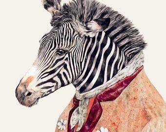 ZEBRA Fine Art Print, Zebra Poster, Animal Decor, Zebra Decor, Zebra Painting, Detailed Illustration, African Decor, Zebra Illustration