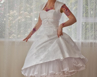 """1950's """"Nancy"""" White Wedding Dress with a Sweetheart Bodice, Lace Overlay, Ribbon Trim, Tea Length Skirt and Petticoat - Custom made to fit"""