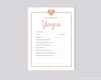 Printable All About My Yaya Instant Download, Mother's Day Questionnaire, Grandparent's Day Gift,  Pink Blank card Grandkids & kids